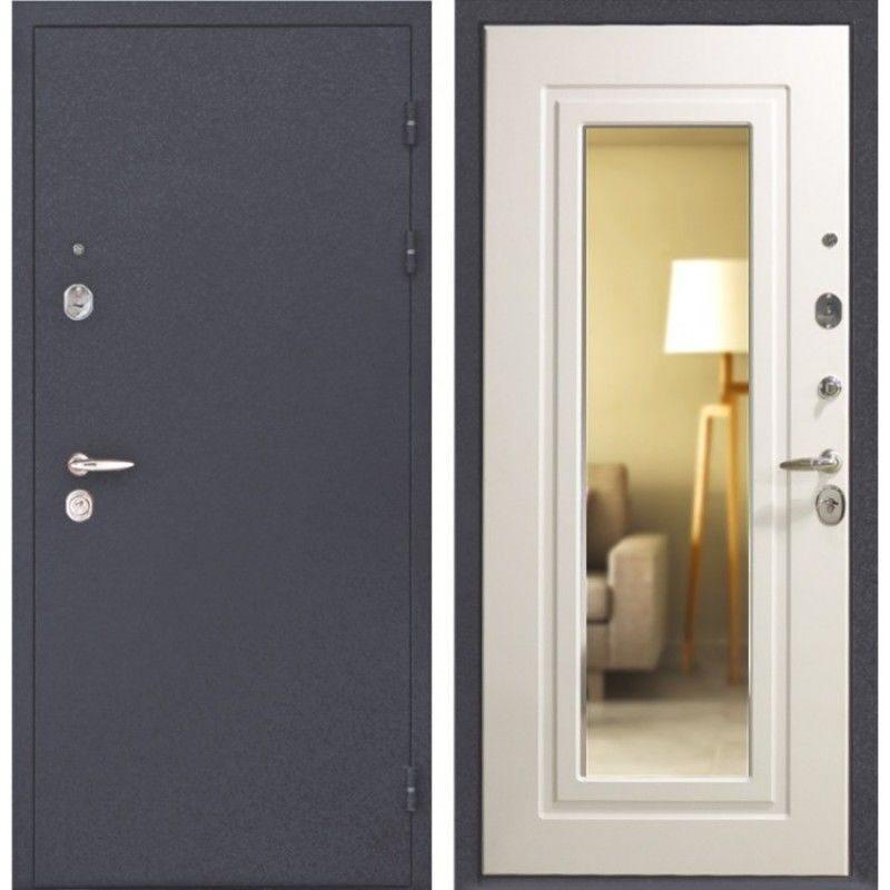 дверь входная металлическая с зеркалом белая
